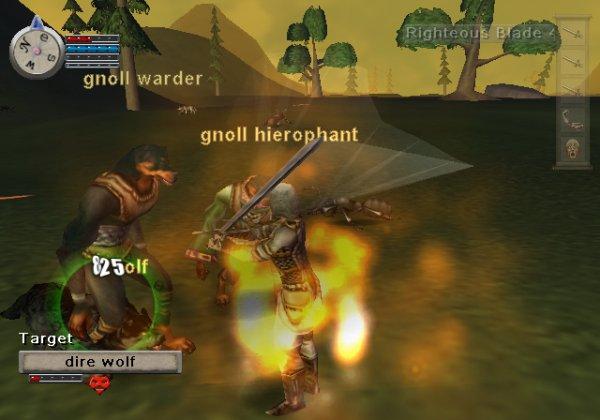 Gnolls against a wolf